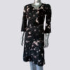 Long Sleeve Women's Eco Dress Ruffled Monochrome Certified Organic Cotton (Black)