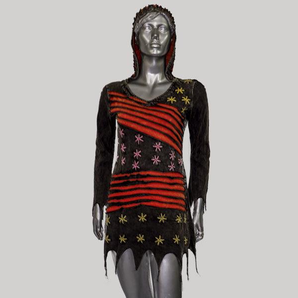 Dress hippie rib cotton with razor cut & hand work (Black)