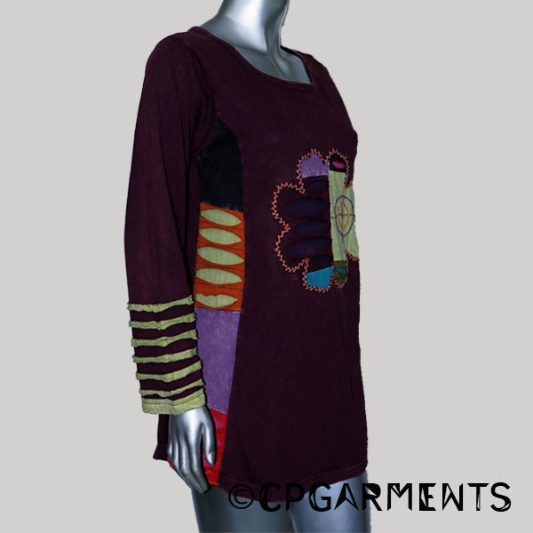Dress for woman jersey cotton with stone wash & hand work (Maroon)