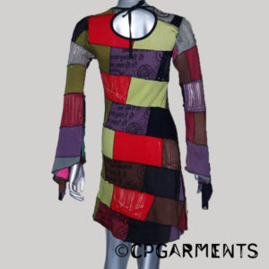 Jersey slant patches multi color stone wash Dress