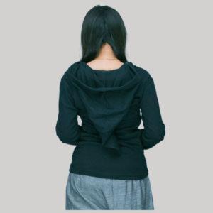 T-shirt with hood rib cotton