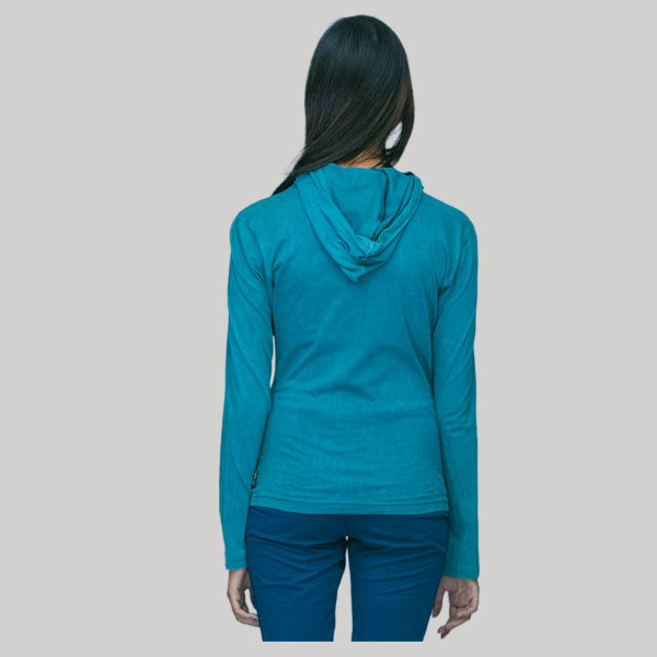 T-shirt with hood rib cotton