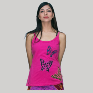 Tank top running butterfly hand stitching