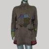 Dress high neck printed cotton fleece with razor & stone wash