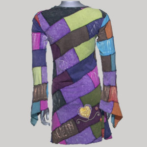 Dress jersey cotton multi color patches hand work & stone wash