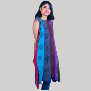 Dress jersey cotton patches panel block print hand work with stone wash