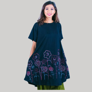 Women's a-line outline Tulip flower embroidery dress