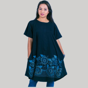 Women's a-line dress with outline embroidery stitches