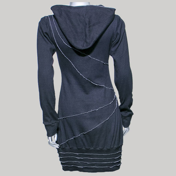 Dress long sleeve with hood cotton rib