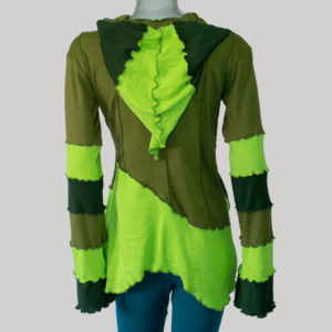 Dress long sleeve with hood cotton rib multi color