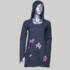 Dress with hood & sleeve decorated with flower embroidery