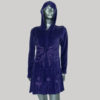 Dress with hood velvet cotton with embroidery