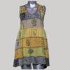 Dress sleeveless cotton knitting patches blocks fabric print with stone wash