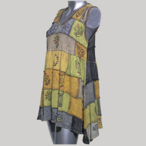 Dress sleeveless cotton knitting patches blocks fabric print with stone wash
