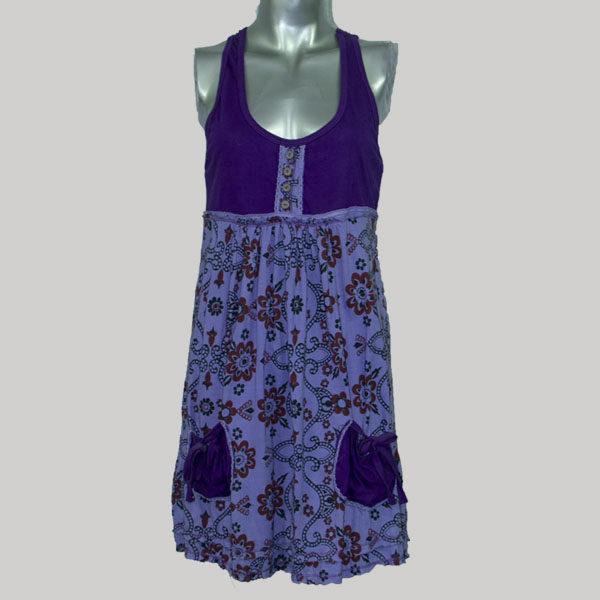 Sleeveless dress with print mix jersey cotton