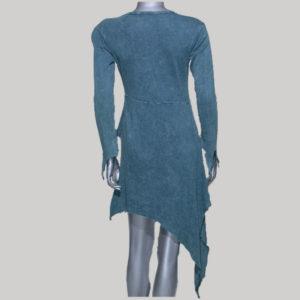 Dress with sleeve rib cotton big flower & small star hand work & stone wash