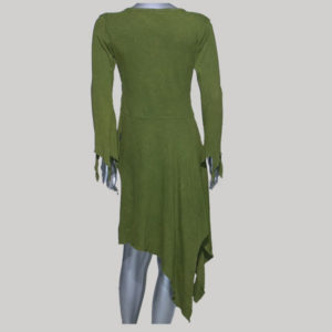 Dress with sleeve rib cotton hand work & stone wash