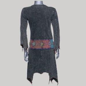 Dress with sleeve rib cotton hand work & stone wash