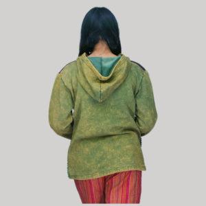 jacket cotton fleece with jersey razor hand work & stone wash