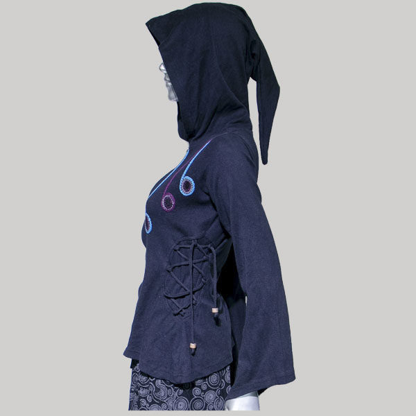 Jacket full sleeve with hood with hand work & side strings