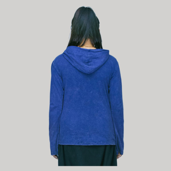 jacket jersey with hood cotton patches hand work & stone wash