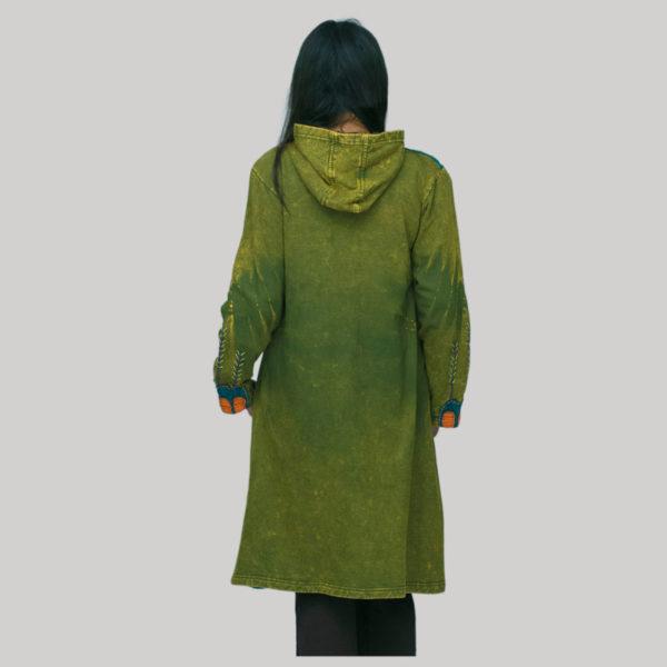 jacket long cotton fleece hand work tidy with wash