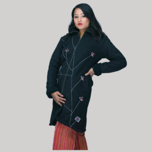jacket long polar fleece with fur lining with embroidery & hood