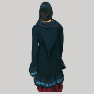 jacket long rib cotton polar fleece lining with hand work & gather bottom & sleeve