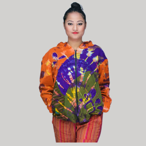 jacket mix ti-dye rib cotton patches with hand work