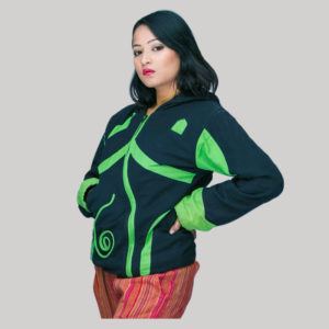 Jacket Nepali hand loom cotton with fleece lining & hood zipper
