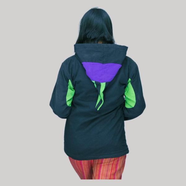 Jacket Nepali hand loom cotton with fleece lining & hood zipper