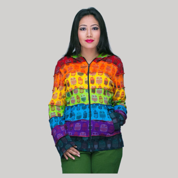 jacket printed rib cotton patches with hood & zipper