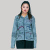 Jacket rib cotton asymmetrical strip with hand work & stone wash