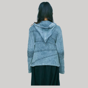 Jacket rib cotton asymmetrical strip with hand work & stone wash