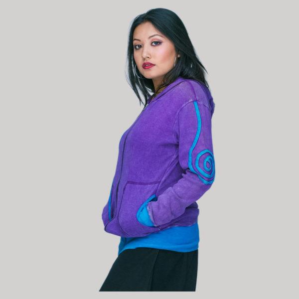 Jacket rib cotton hood & zipper stone wash