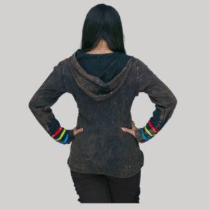 Jacket rib cotton mix patch hand work razor & stone wash