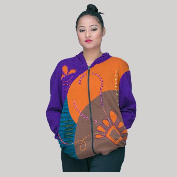 Jacket rib cotton mix patch hand work & wash