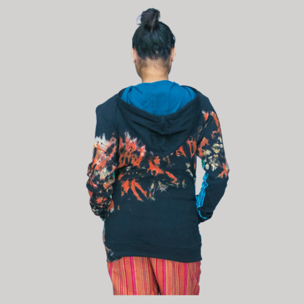 Jacket rib cotton mix patch ti-dye & hand work