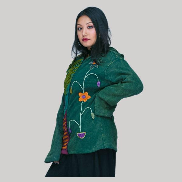 Jacket rib cotton with polar lining hand work & stone wash
