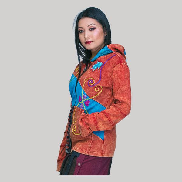 jacket rib jersey patch with stone wash & razor