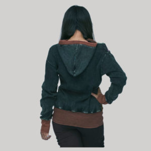 Jacket rib mix color patches with stone wash