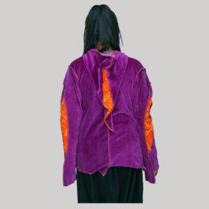 Jacket velvet cotton asymmetrical stripes