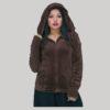 Jacket velvet cotton crewel hood embroidery with zipper