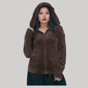 Jacket velvet cotton crewel hood embroidery with zipper
