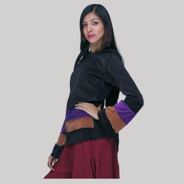 Jacket velvet cotton patch with zipper & hood
