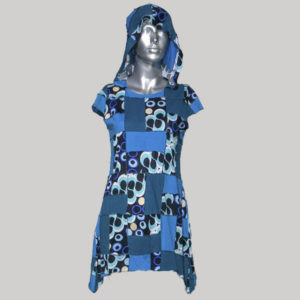 Long dress viscose cotton printed patches with hood & half sleeve