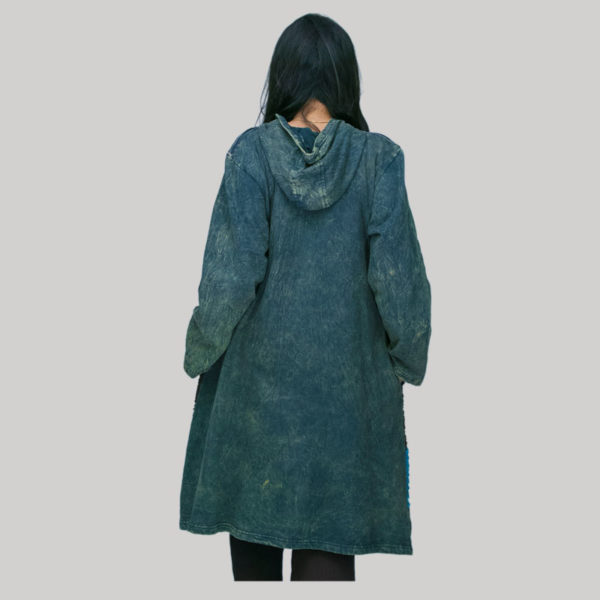 Long jacket cotton fleece with jersey razor hand work & stone wash