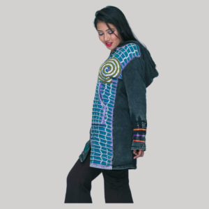 Long jacket rib cotton polar fleece lining with hand work & stone wash