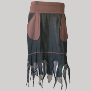 Gypsy skirt hand loom cotton asymmetrical fringes bottom