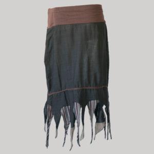 Gypsy skirt hand loom cotton asymmetrical fringes bottom